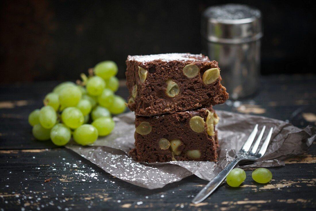Vegan chocolate cake with grapes