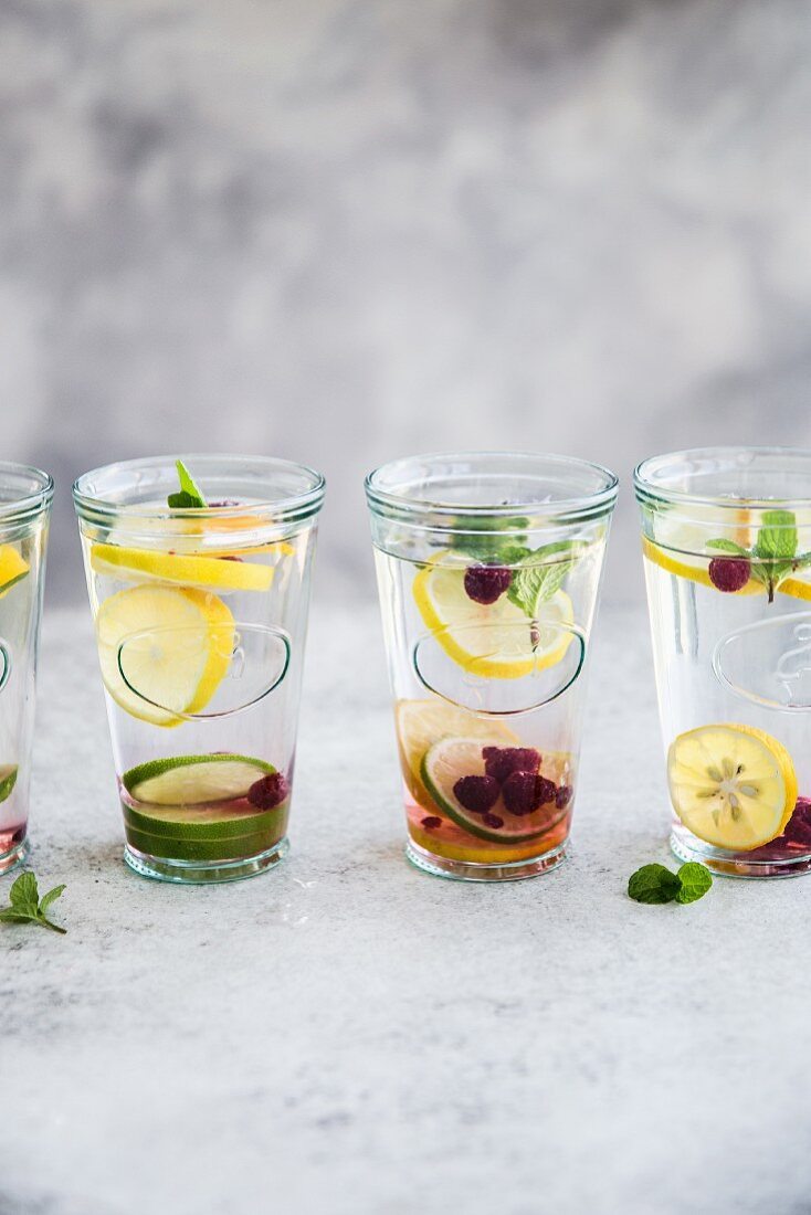 Water infused with fresh fruit and mint