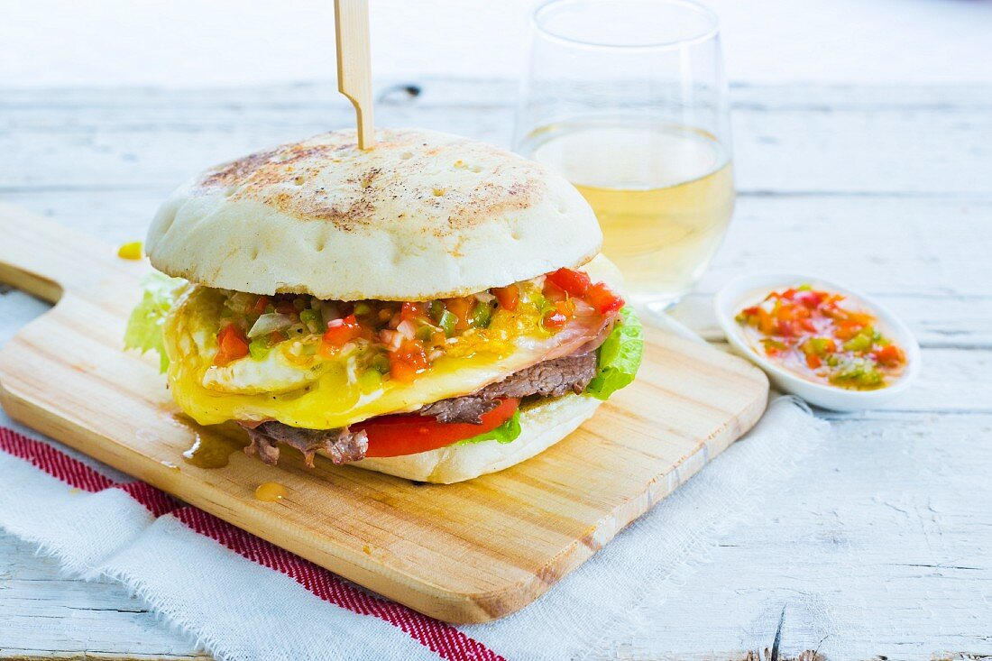 Lomito sandwich with beef and fried egg (Argentina)