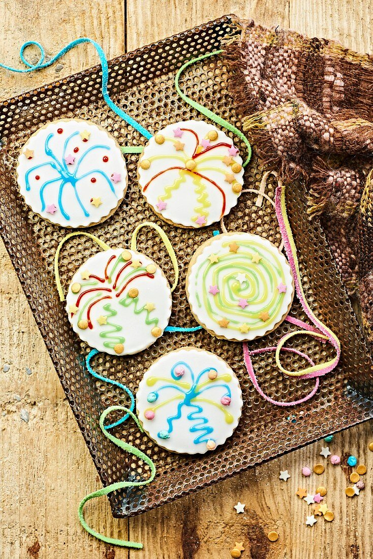 Firework biscuits for children's parties (England)