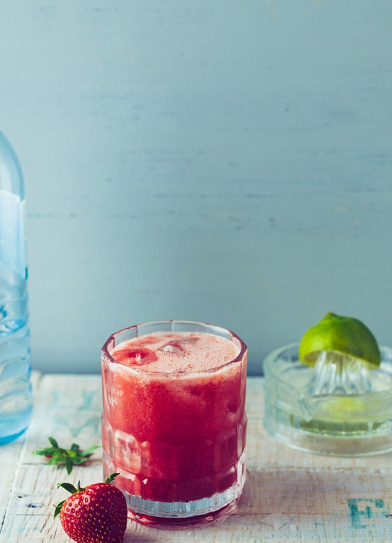 Strawberry and watermelon drink with sparkling water