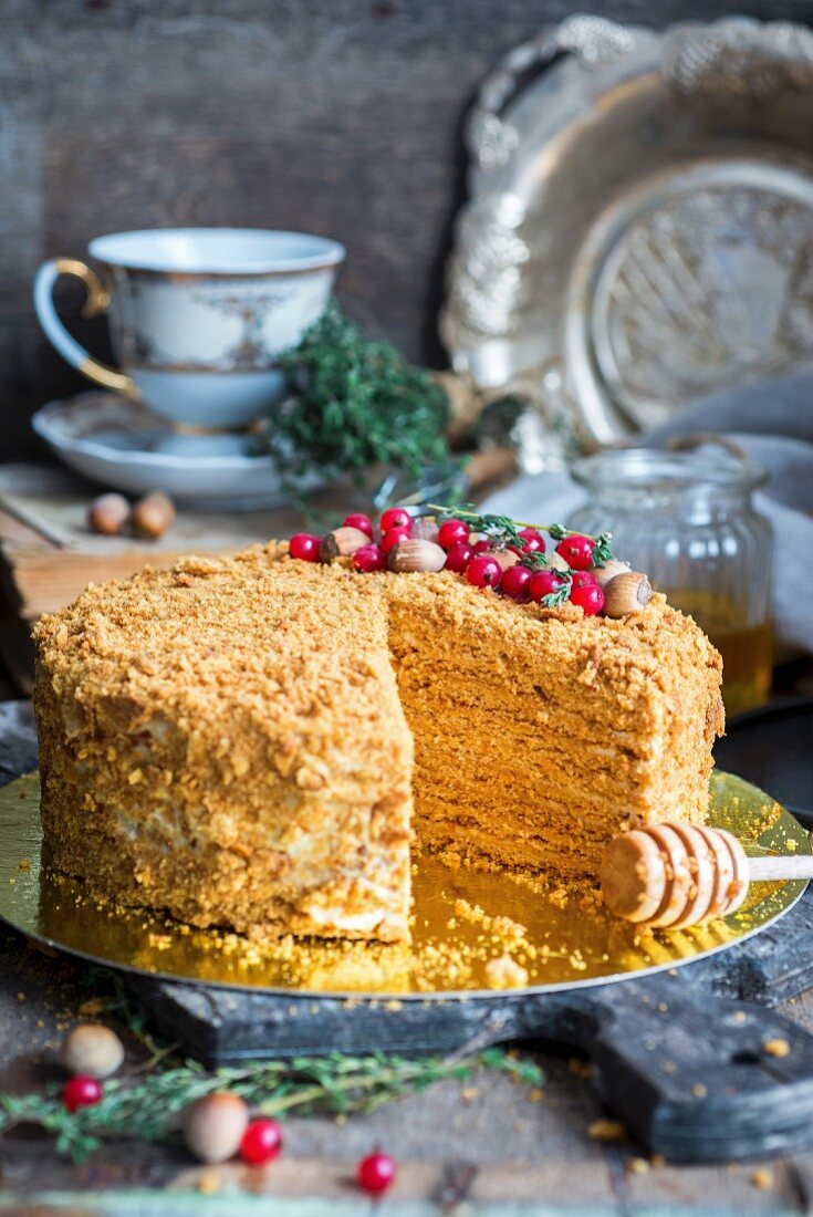 Medovik, a traditional Russian honey cake