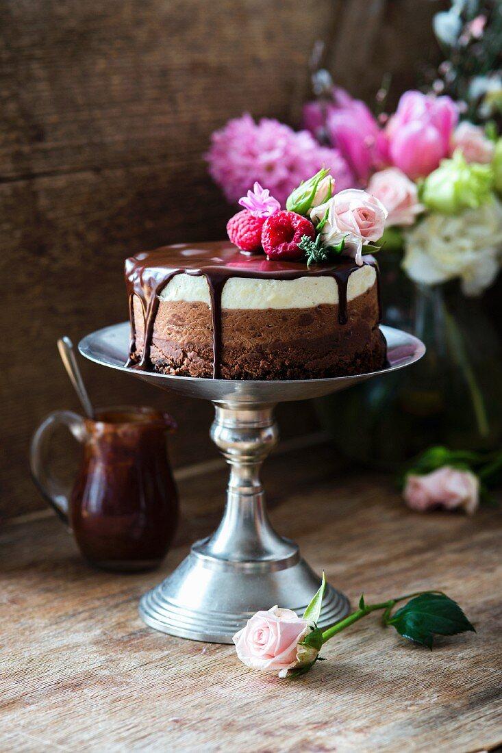 A three-layered chocolate cake