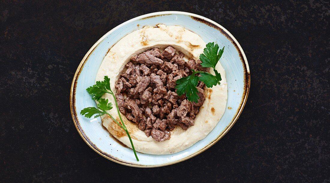 Hummus with meat (Lebanon)