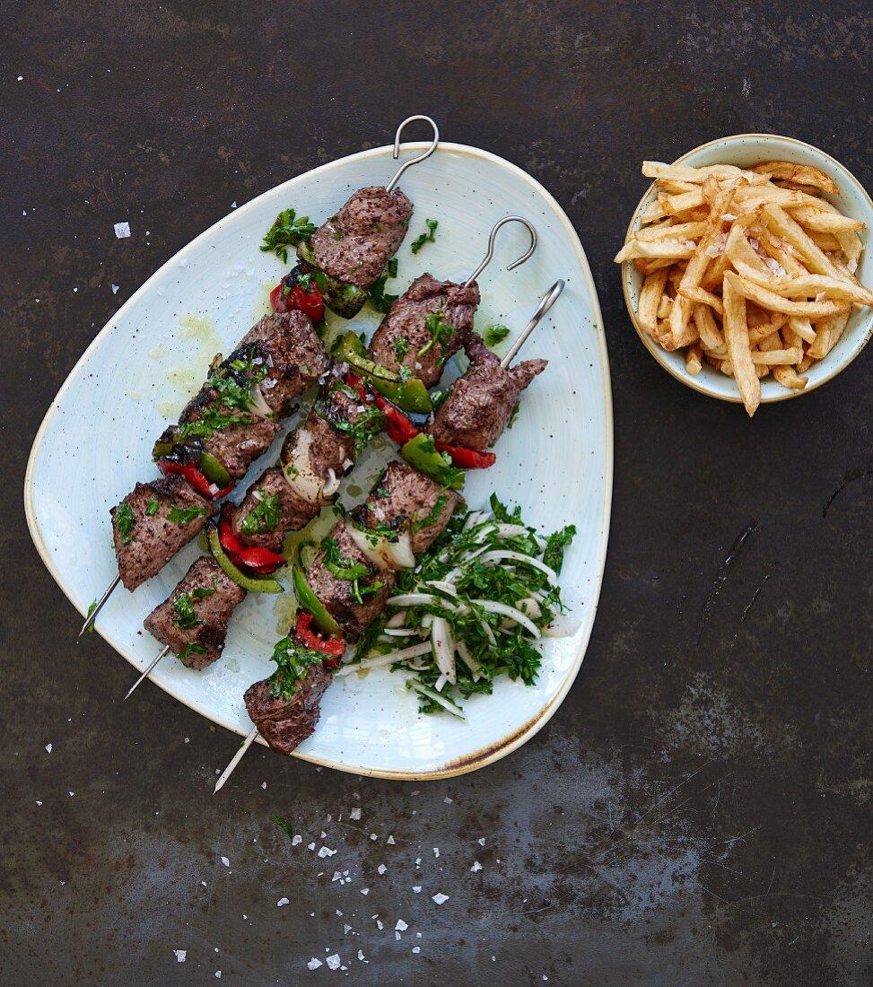 Lahem Meshwi (lamb kebabs, Lebanon)