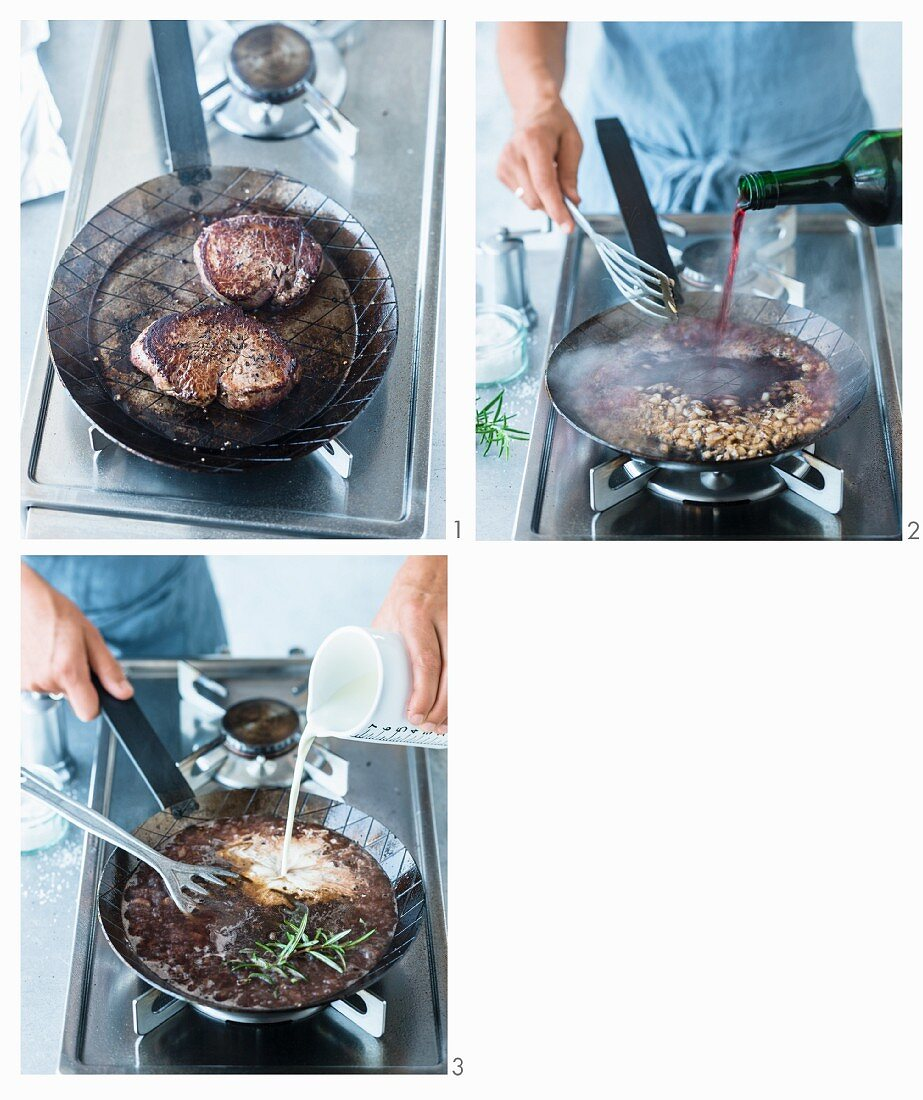 Fried beef filet steak with creamy red wine sauce being made