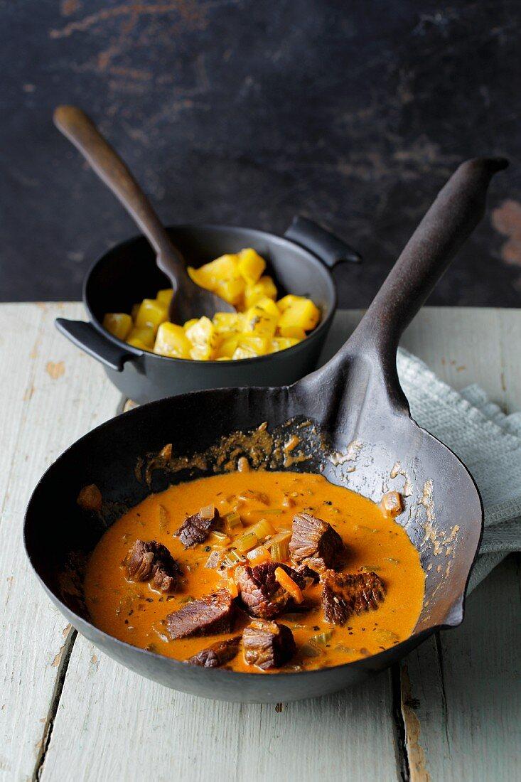 Creamy wild boar goulash with butternut squash