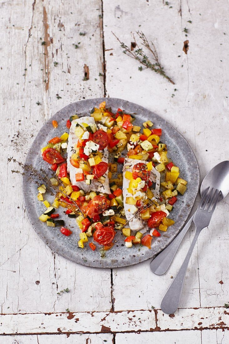 Vegetables and cod