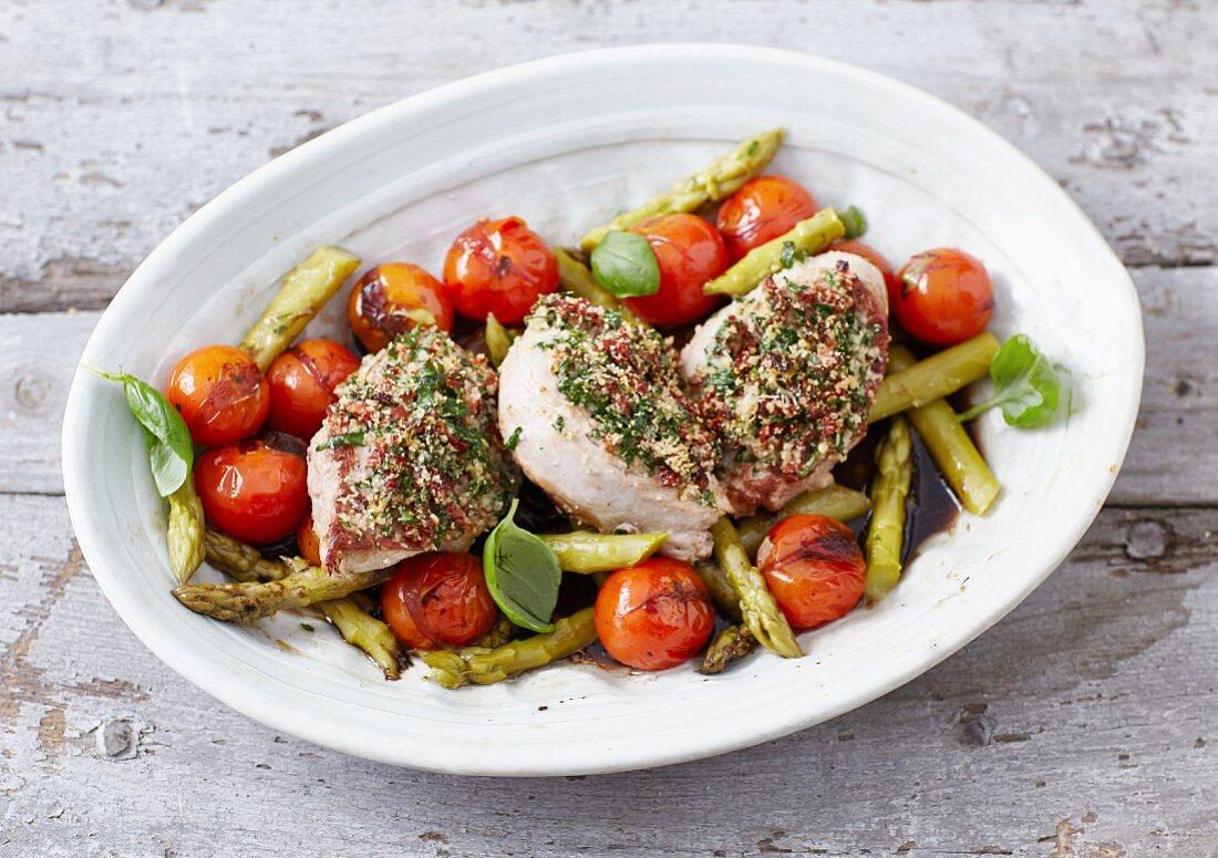 Gratinated pork tenderloin with asparagus
