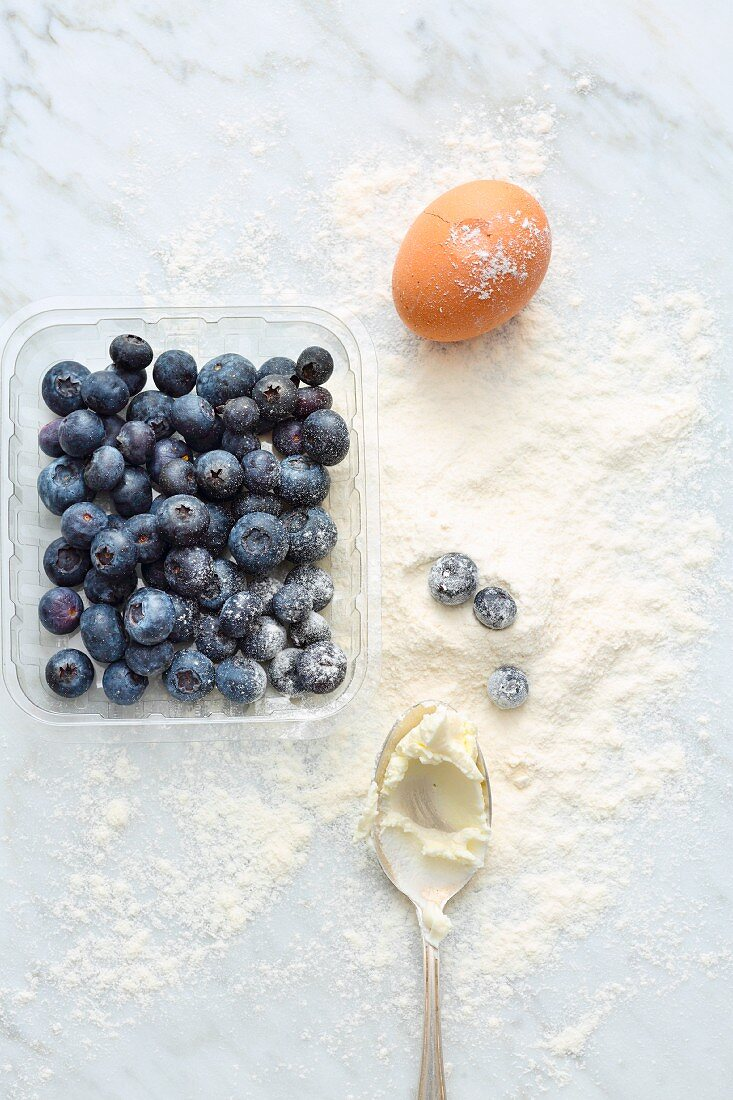 Blueberries, an egg, cream cheese and flour