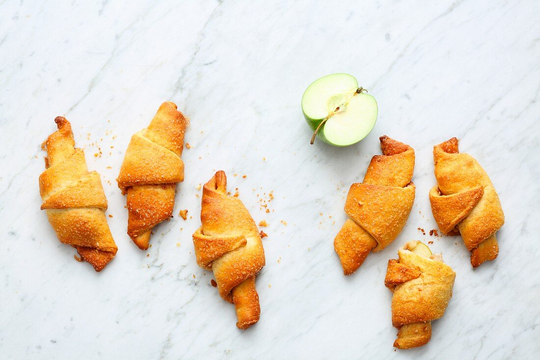 Mini apple pies made of ready-made croissant pastry