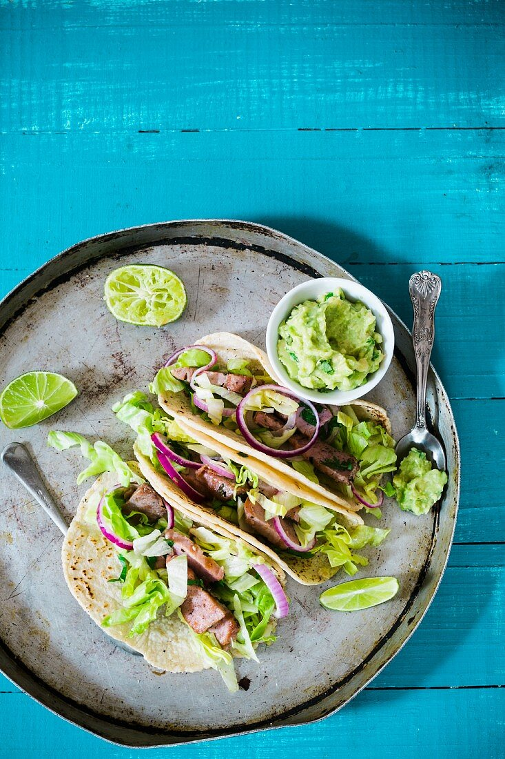 Grilled fish tacos with guacamole (Mexico)