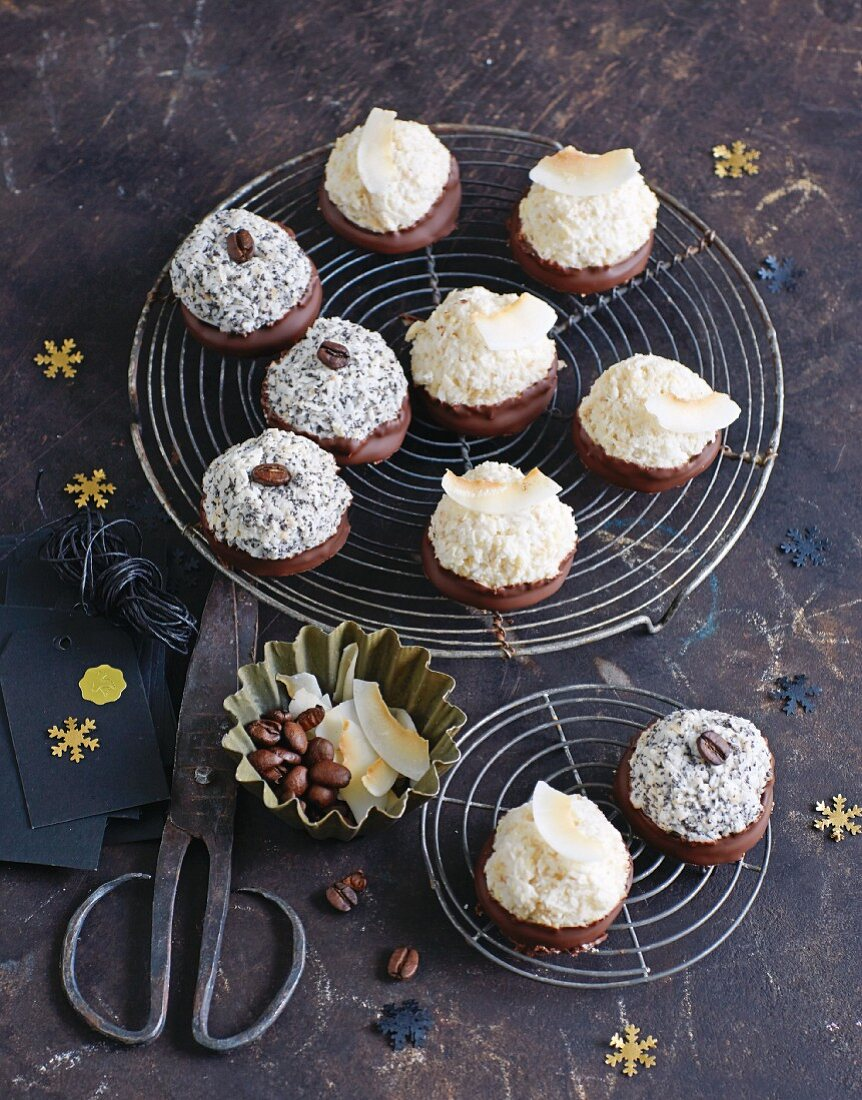 Coconut biscuits and poppy seed biscuits