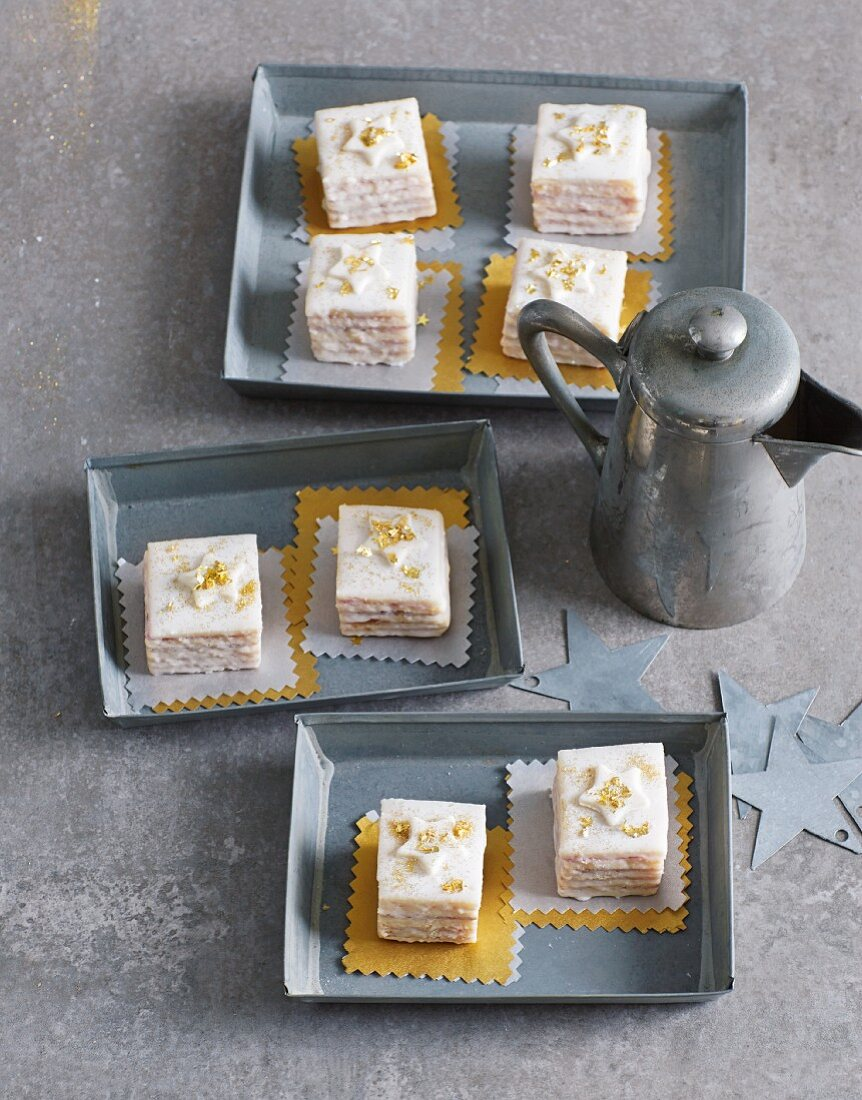 Punch squares with marzipan