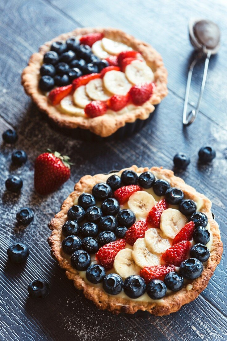 Fruit tarts for the Fourth of July (USA)