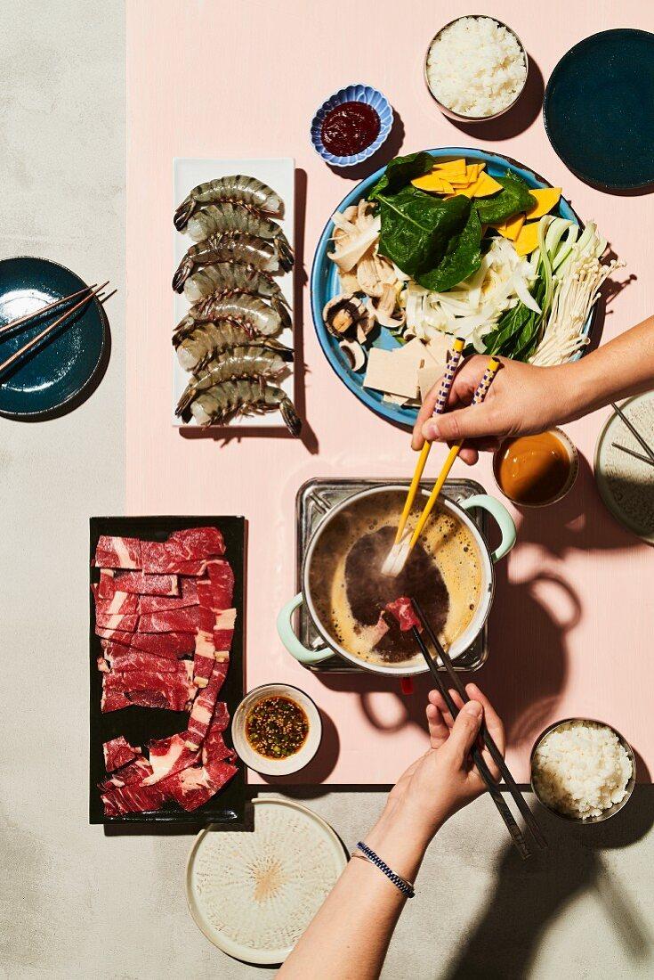 Shabu Shabu (Korean fondue with dasima broth)