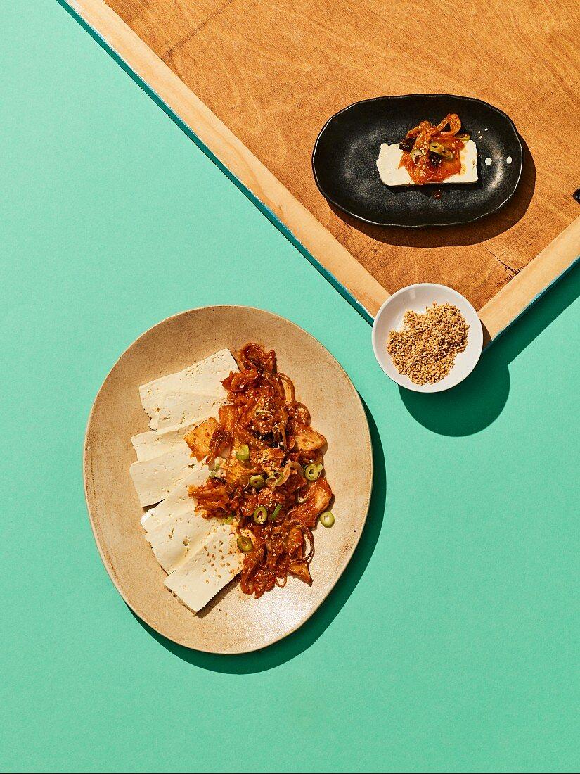 Dubu kimchi - fried kimchi with tofu from Korea