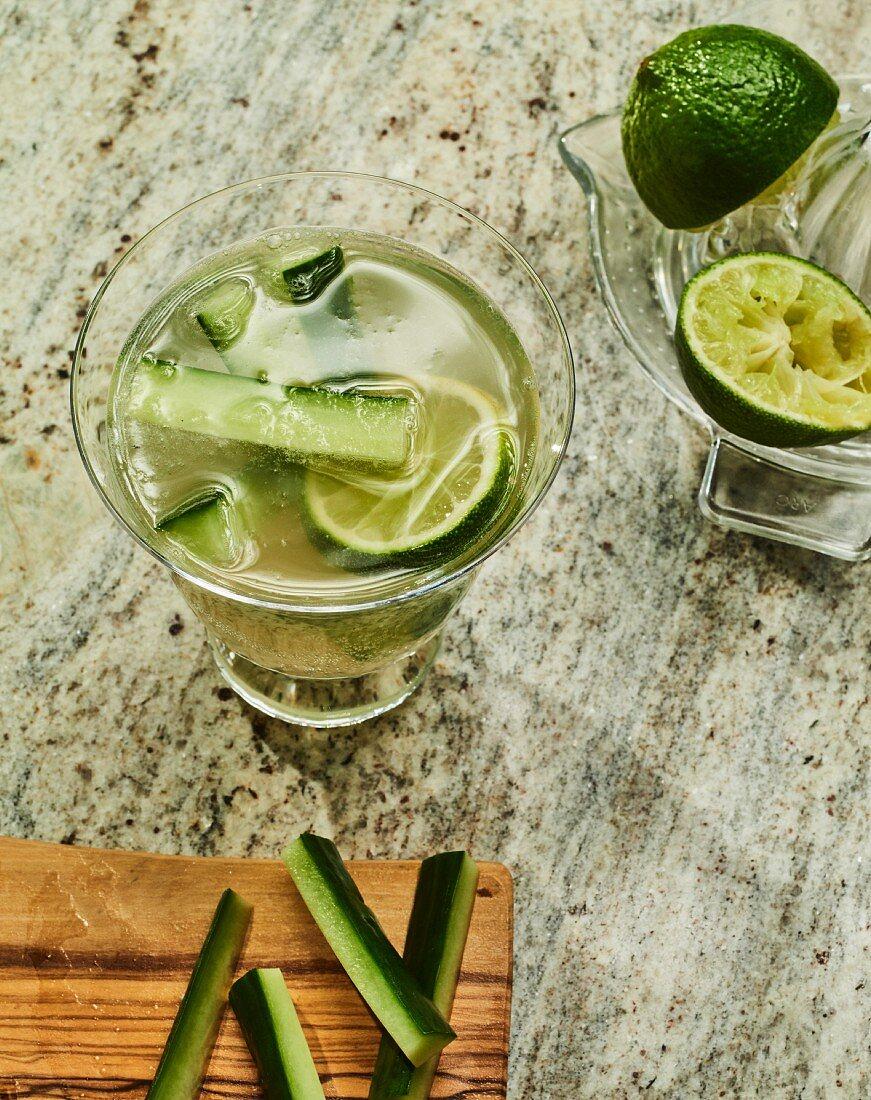 Sojurella - A Korean cocktail with cucumber, soju and elderflower cordial