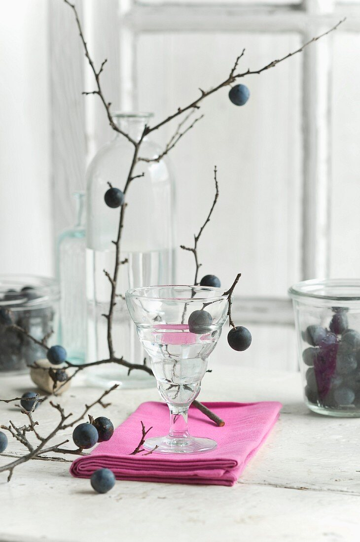 Blackthorn schnapps in a glass, blackthorn fruits in a storage jar and a blackthorn branch on a kitchen table
