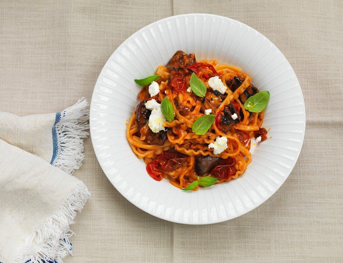 Pasta alla Norma with aubergine