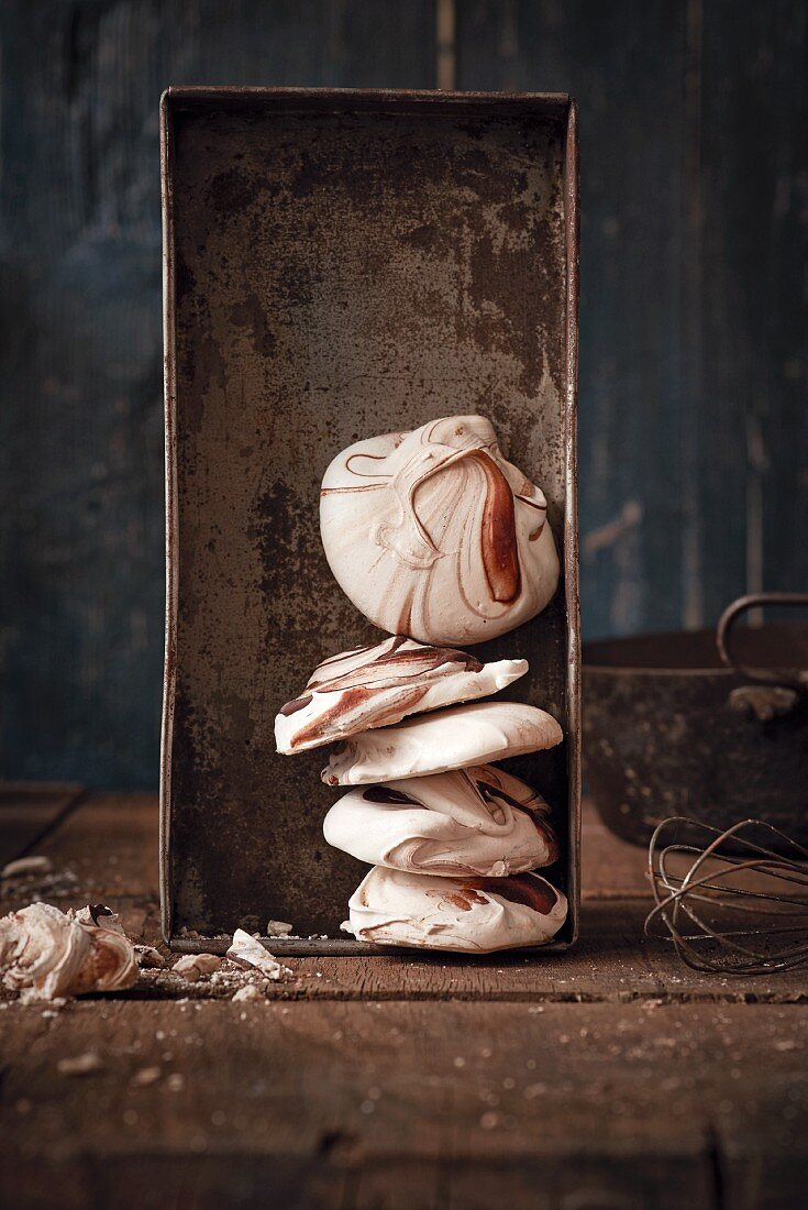 Meringues in an old baking tin