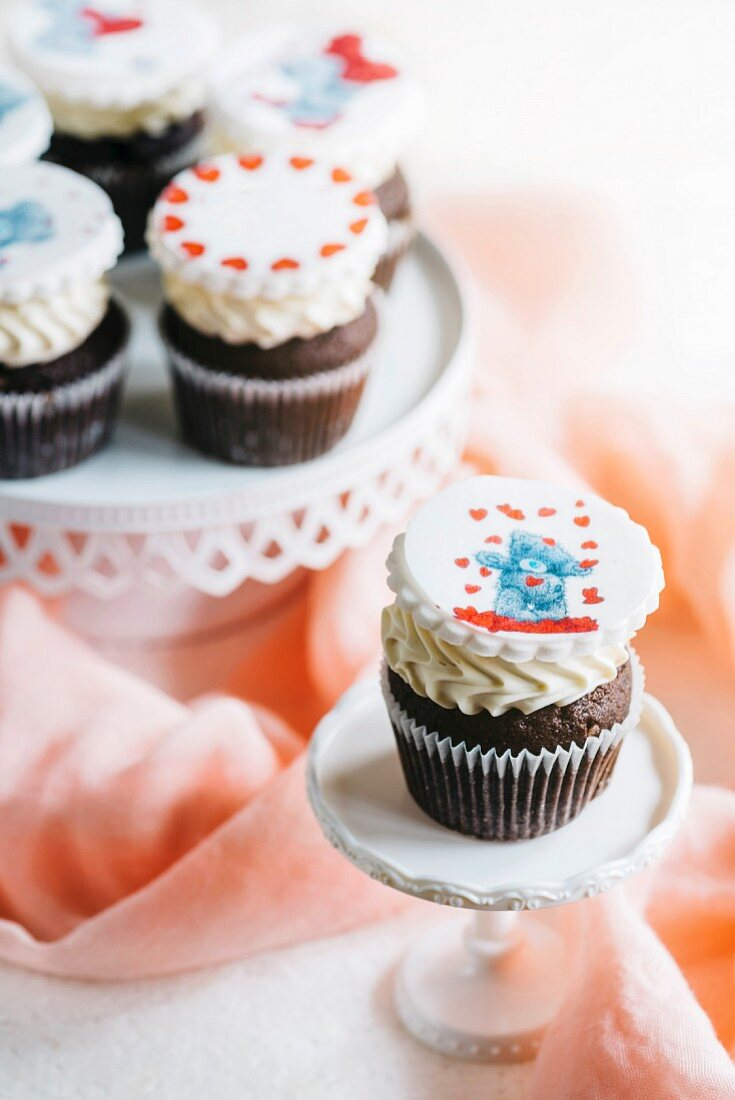 Cupcakes with love themed decorations for Valentines Day
