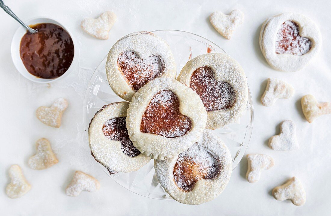 Sweet homemade love cookies with jam