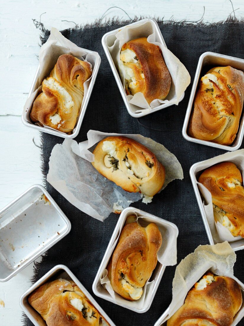 Small goat's cheese bread loaves