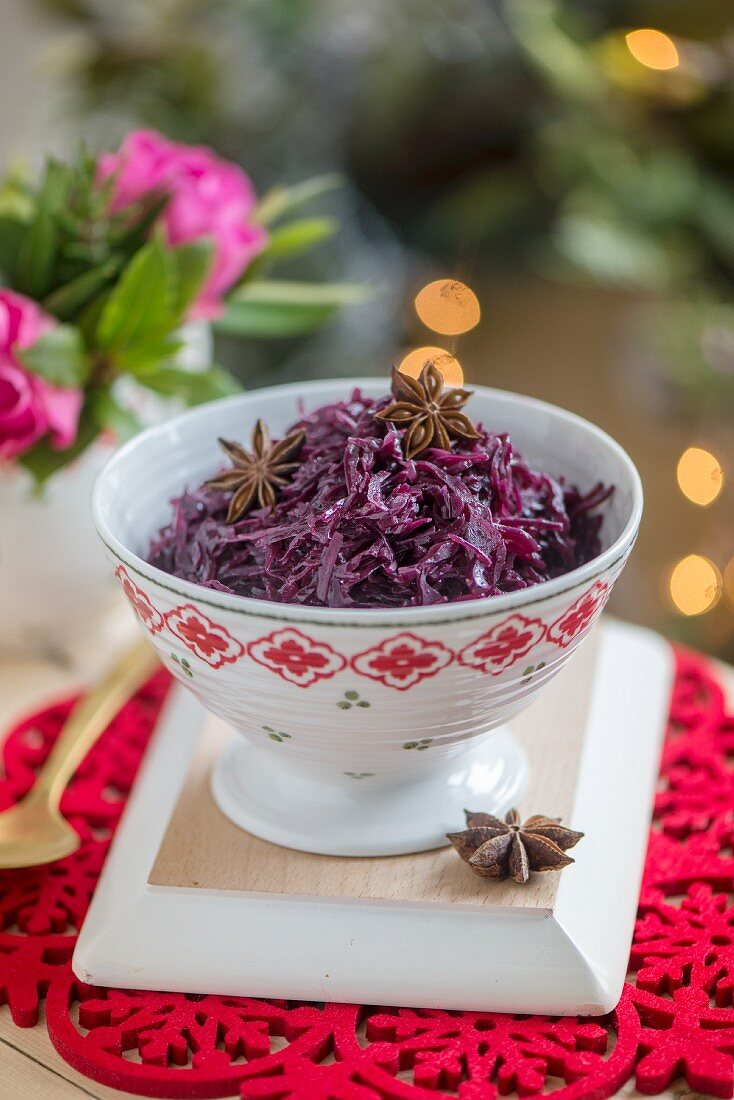 Red cabbage with cinnamon and star anise for Christmas dinner