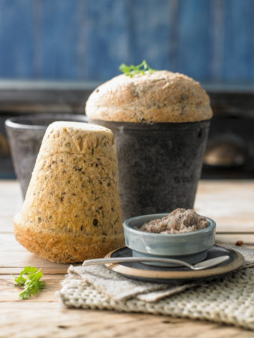 Herb and pepper bread baked in a flowerpot