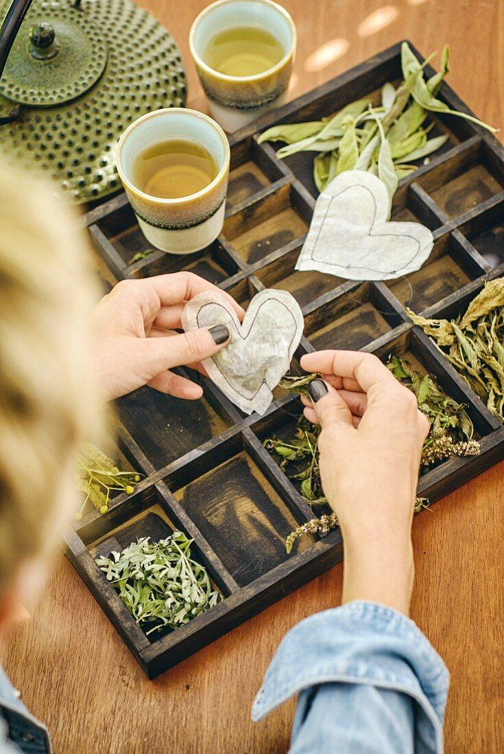 Hand-made heart-shaped teabags