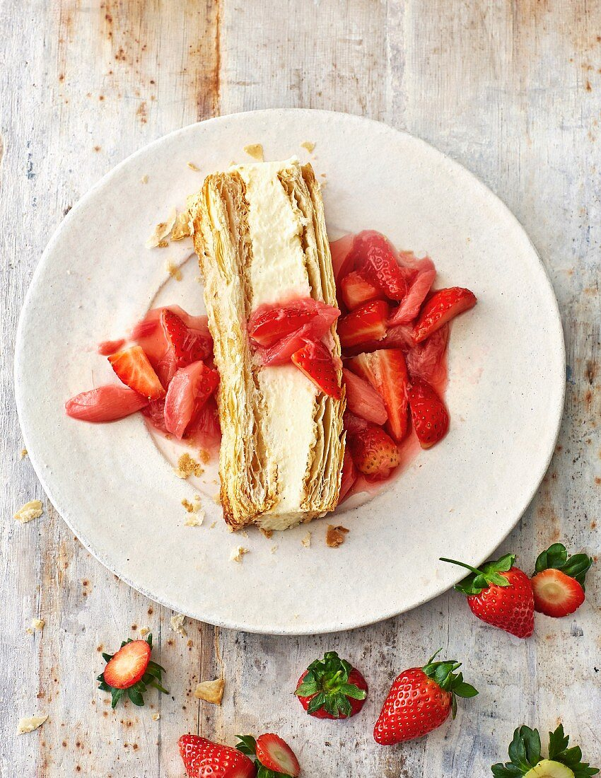 Flaky pastry slice with ricotta and strawberry and rhubarb compote
