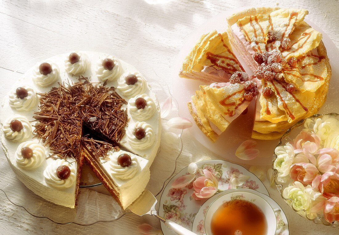 Black Forest cake & choux pastry cake with raspberry cream