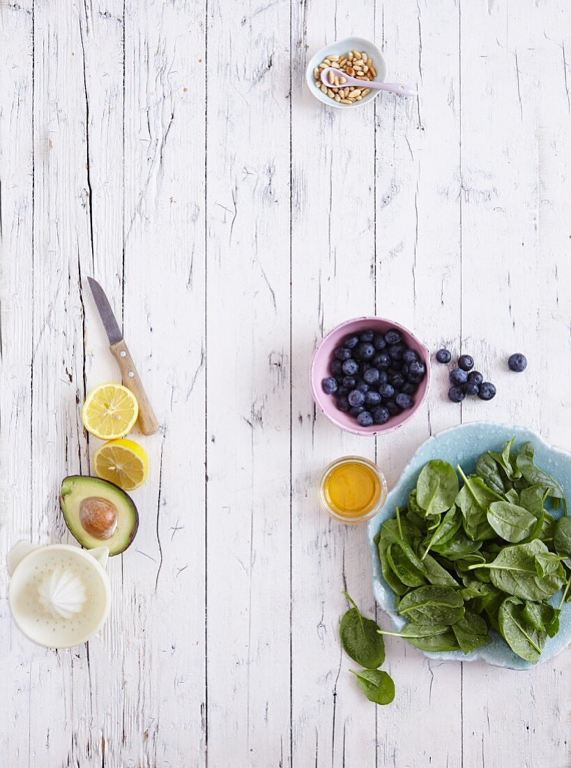 Avocado, lemon, blueberries and spinach