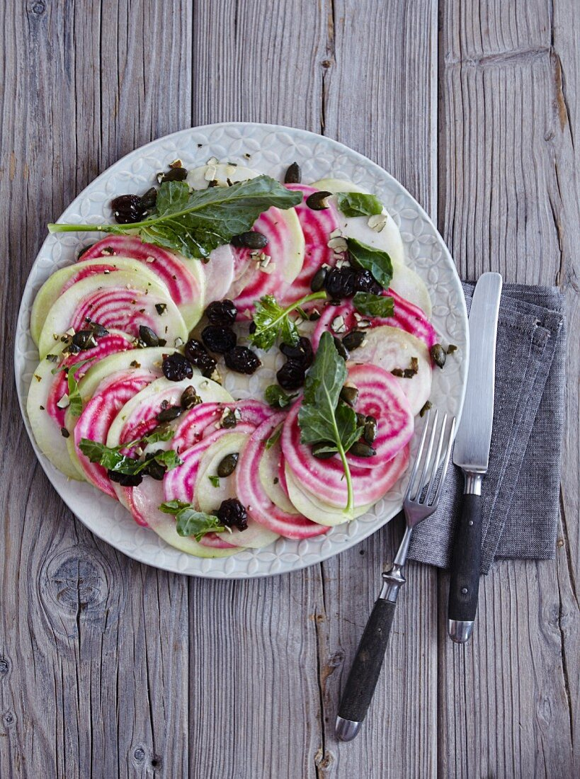 Beef and kohlrabi salad with dried sour cherries - 'Pink Ring O' Roses'