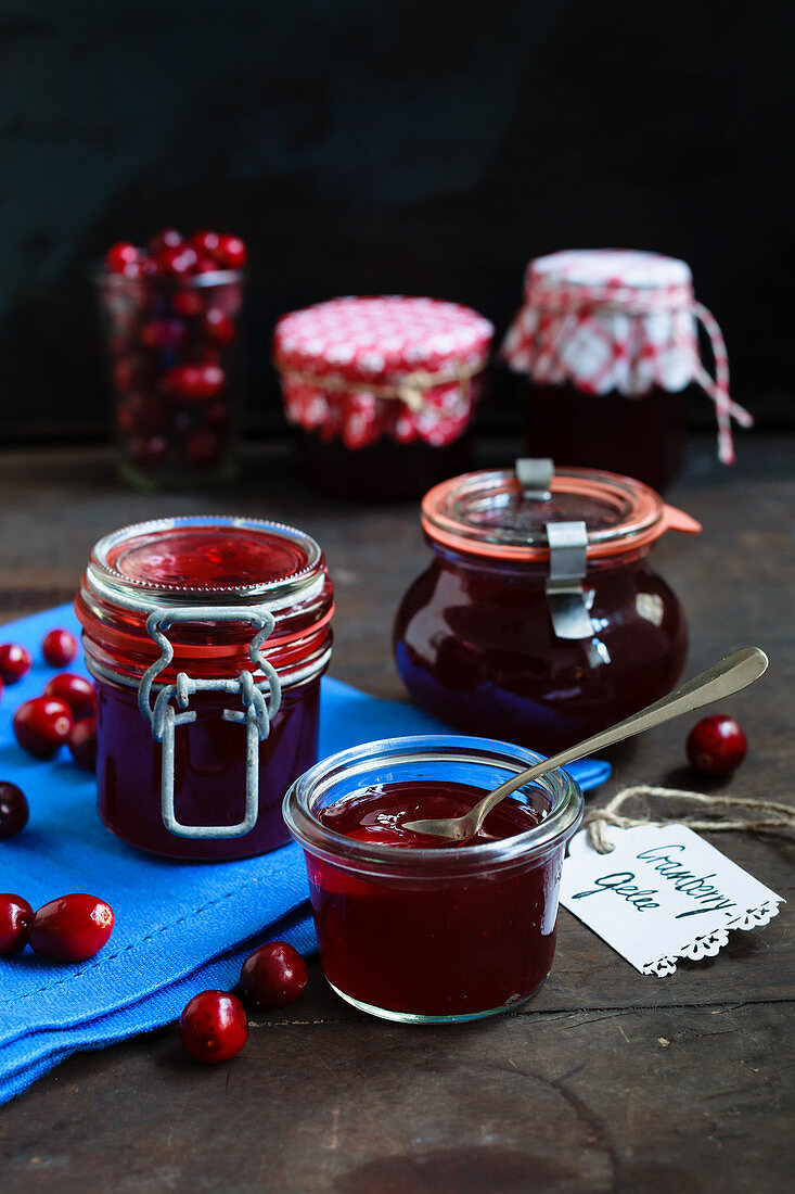 Cranberry jelly in jam jars