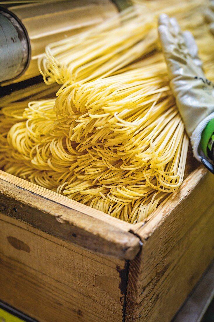Handmade spaghetti from the family-run Martelli factory in Tuscany, Italy