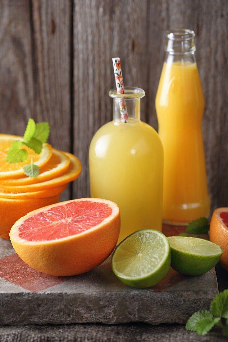 Freshly pressed citrus juice in a carafe