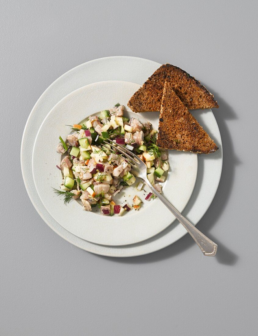 Herring ceviche with apple, cucumber and a dill dressing