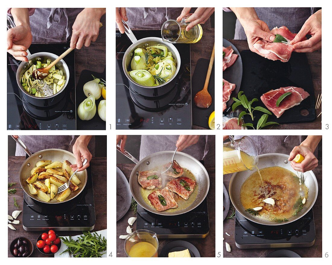 Saltimbocca with braised fennel being made