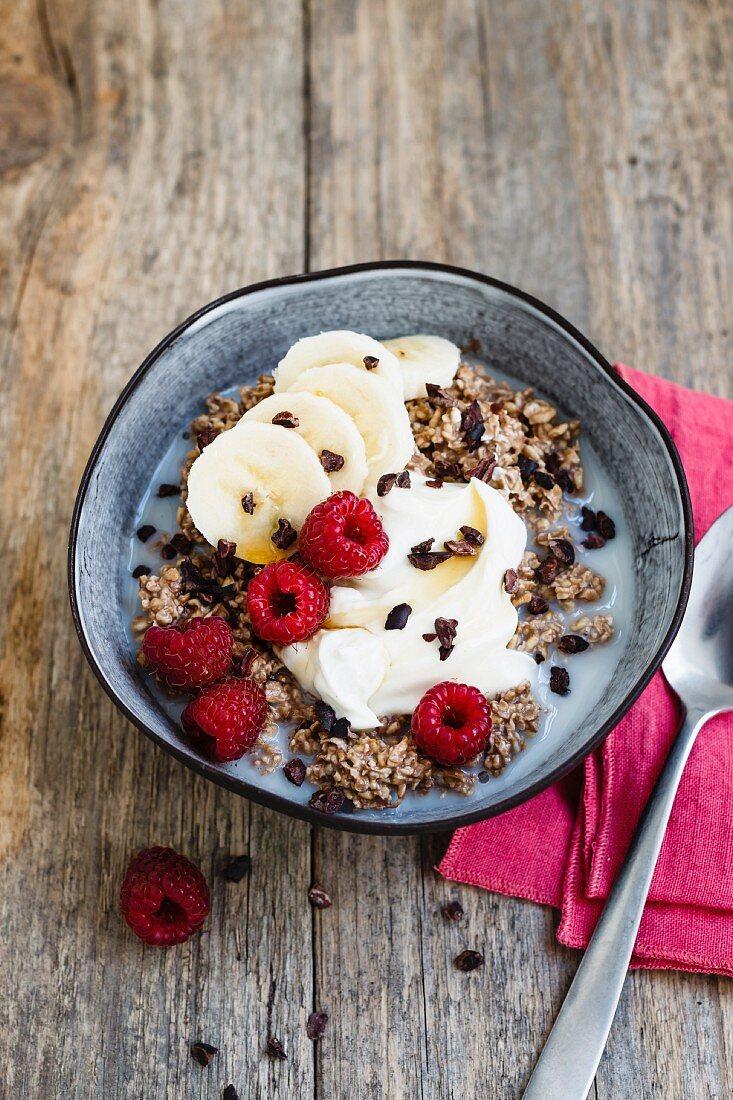 Overnight oats with chocolate, banana and raspberries