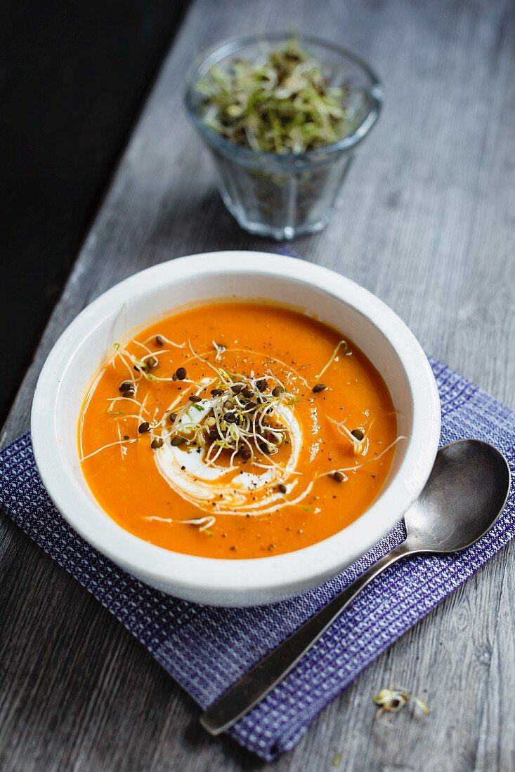 Sweet potato soup with sprouts