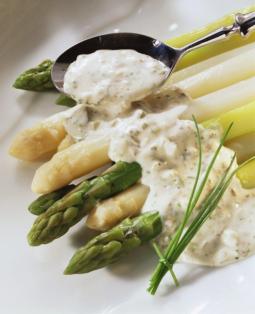 Green & white asparagus with light tartar sauce