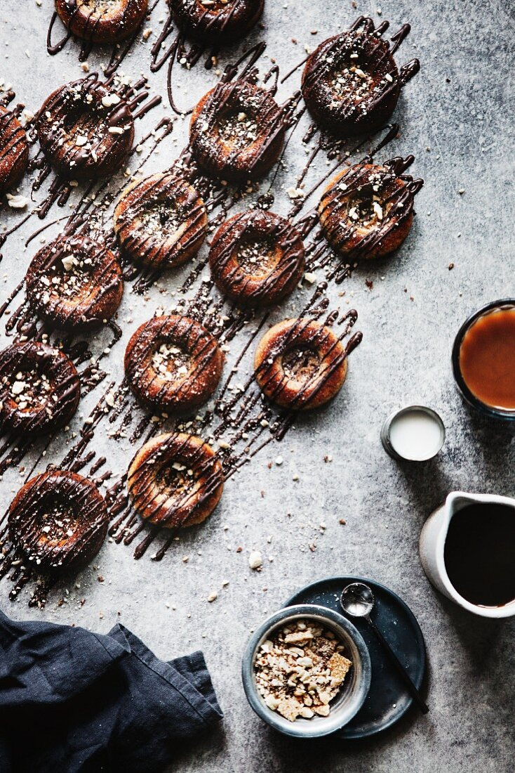 Paleo banana donuts with a chocolate glaze (top view)