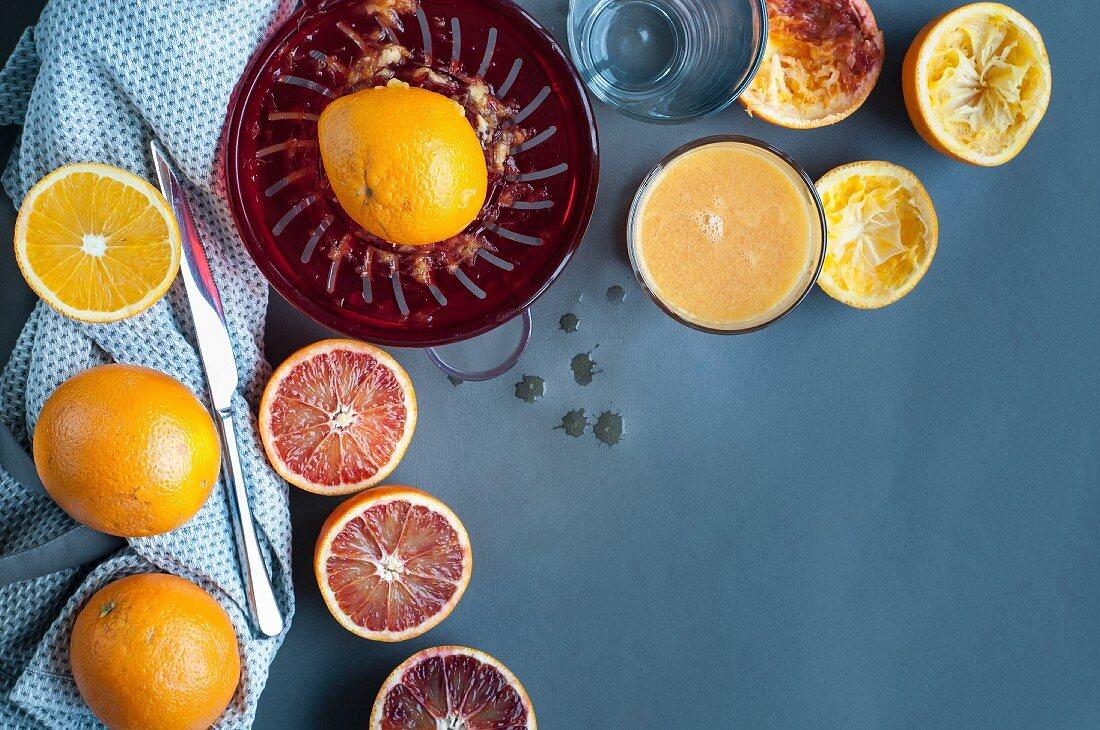 Pressed oranges and blood oranges