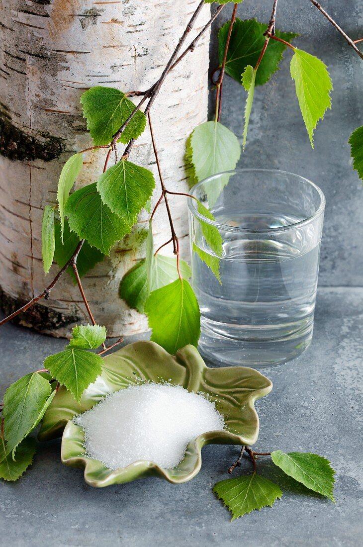 Birch sugar and birch water