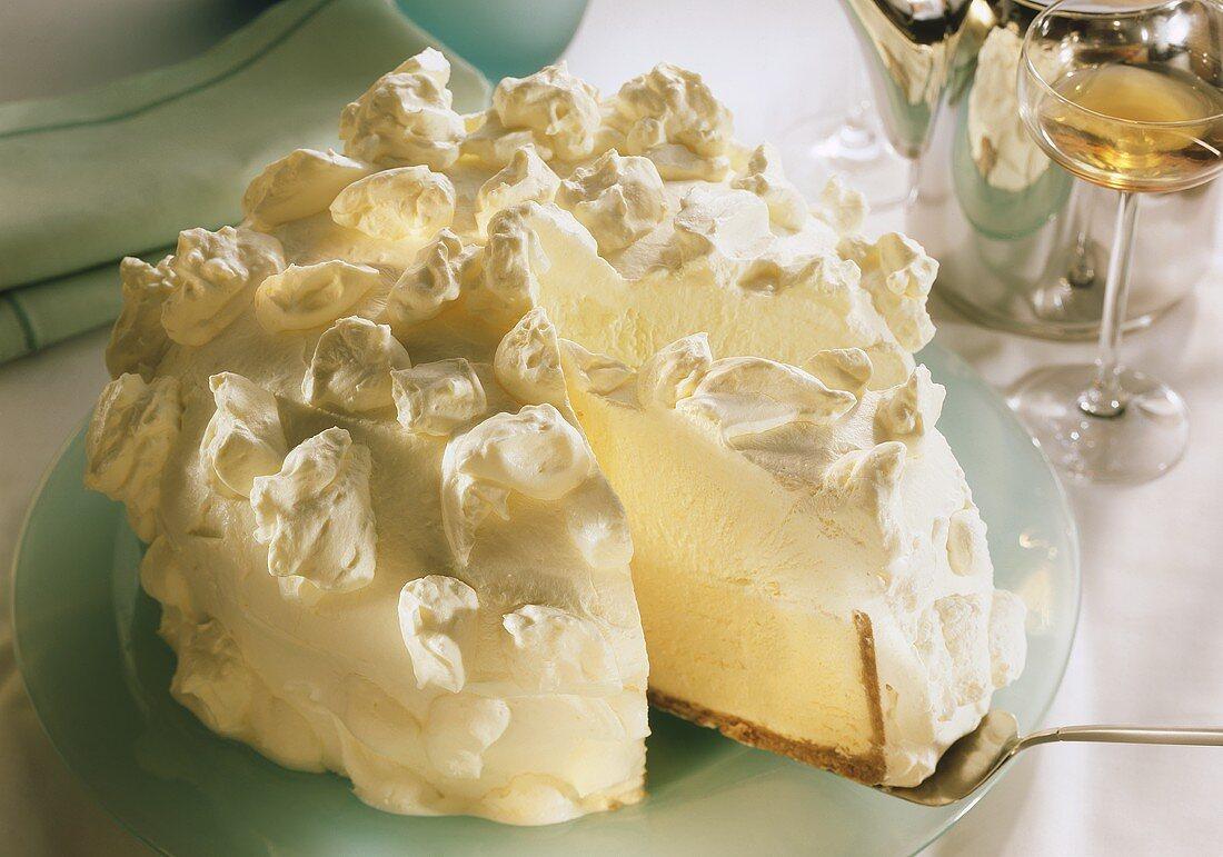 White cloud ice cream gateau with lime mousse & cream