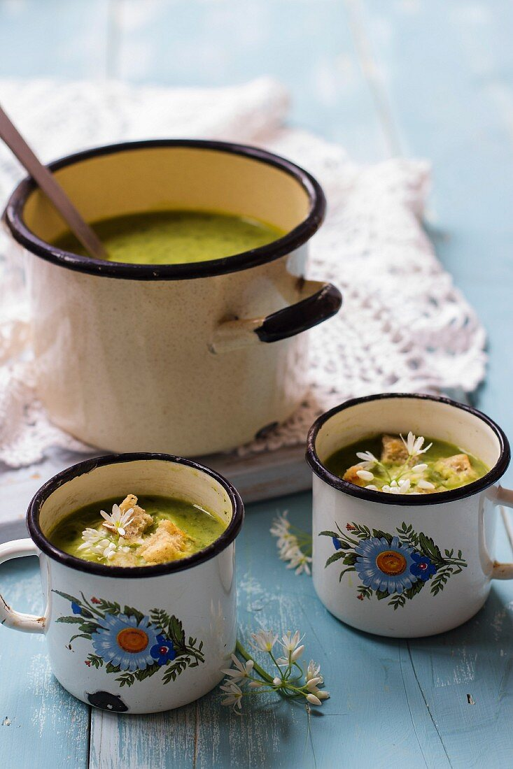 Creamy wild garlic soup with croutons in enamel cups