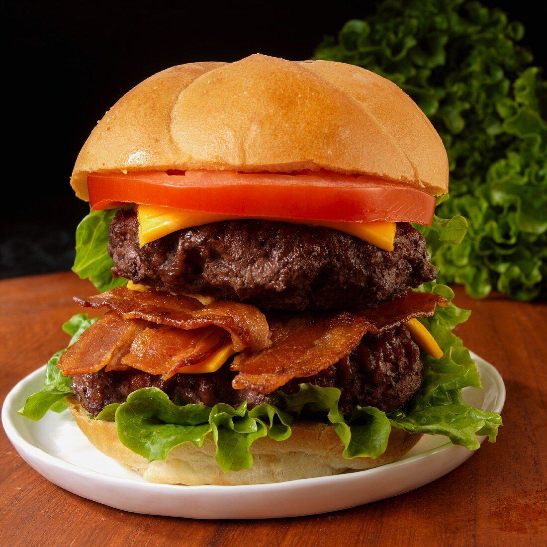 Double Cheeseburger with bacon, tomato and lettuce