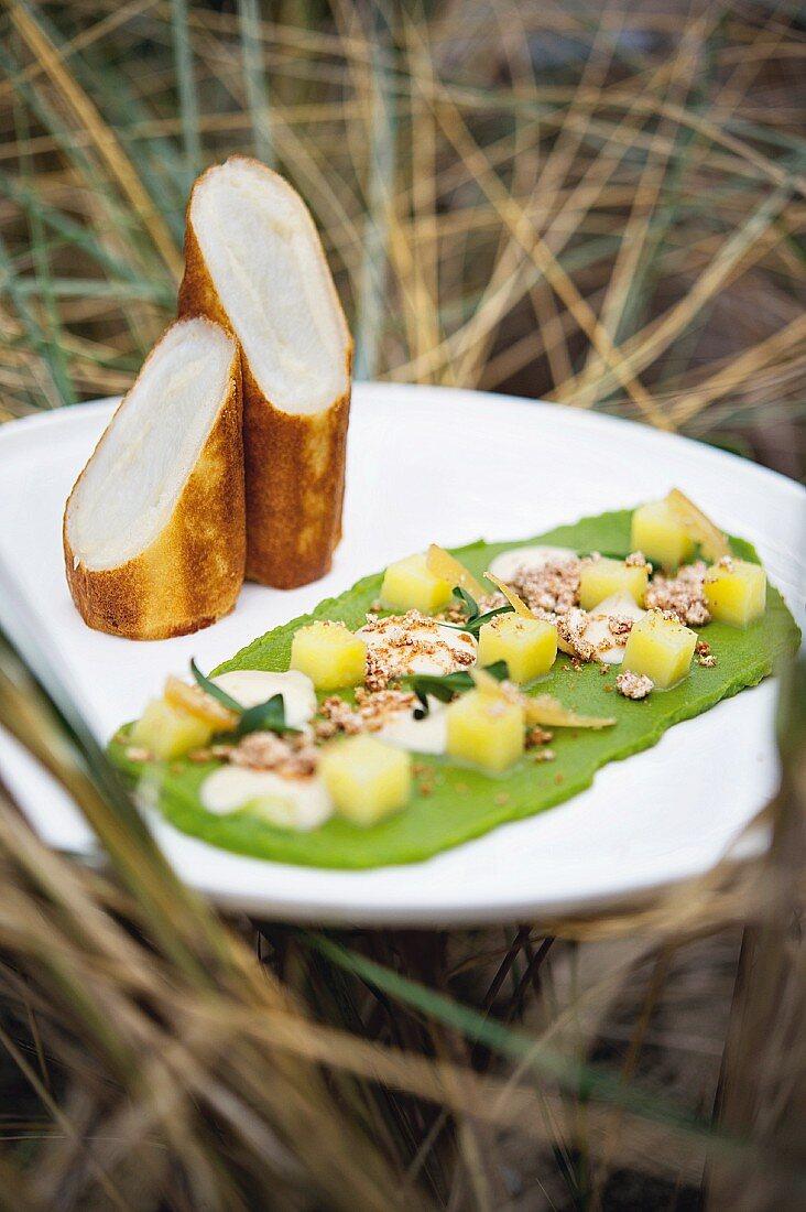 An interpretation of plaice à la Meunière with parsley, nut butter, salted lemon and potato